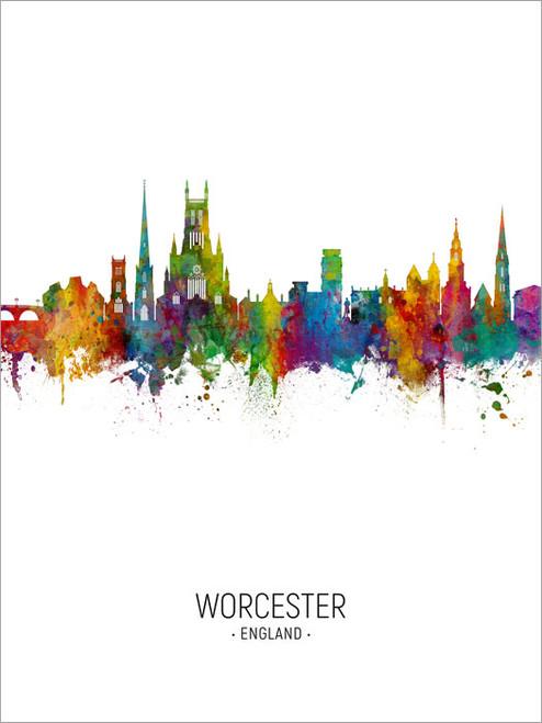 Worcester England Skyline Cityscape Poster Art Print