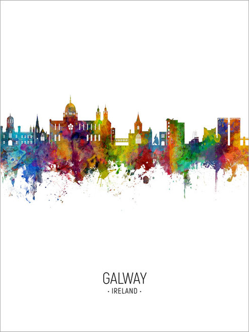 Galway Ireland Skyline Cityscape Poster Art Print