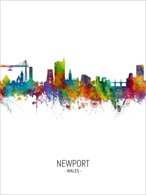 Newport Wales Skyline Cityscape Poster Art Print