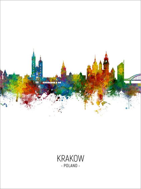 Krakow Poland Skyline Cityscape Poster Art Print