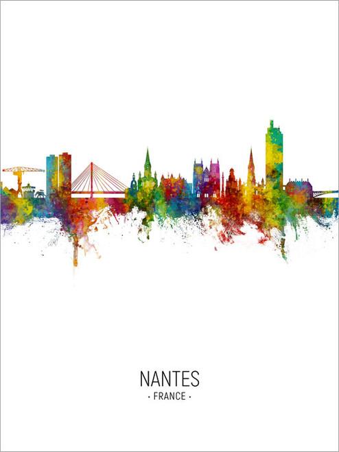 Nantes France Skyline Cityscape Poster Art Print