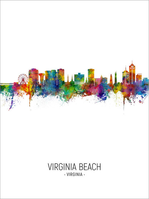 Virginia Beach Virginia Skyline Cityscape Poster Art Print