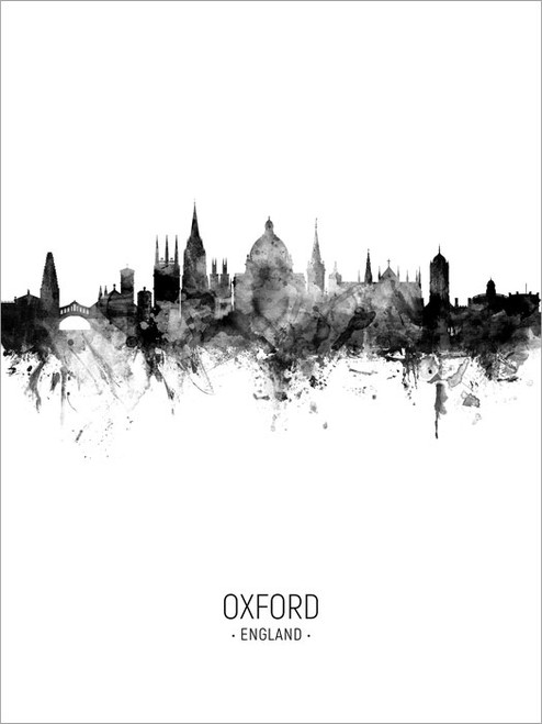 Oxford England Skyline Cityscape Poster Art Print