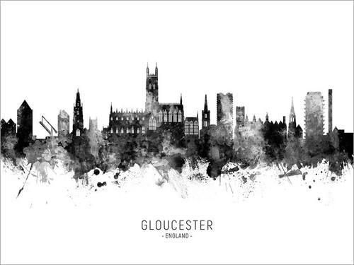 Gloucester England Skyline Cityscape Poster Art Print