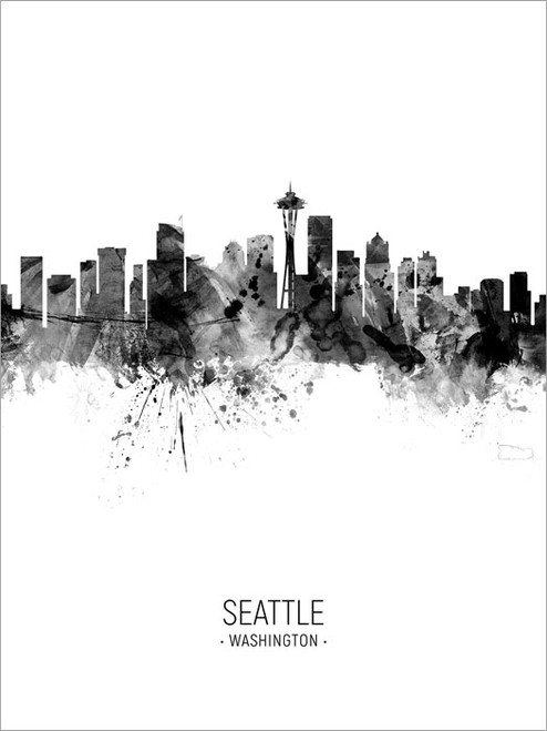 Seattle Washington Skyline Cityscape Poster Art Print