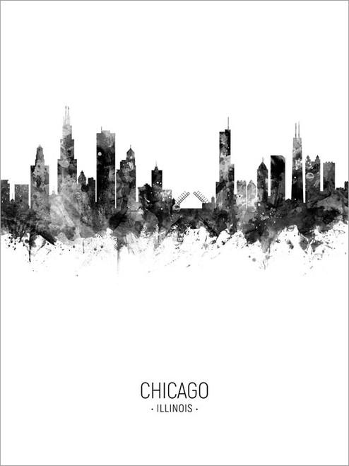 Chicago Illinois Skyline Cityscape Poster Art Print