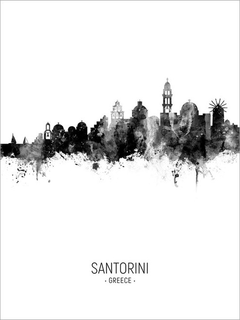 Santorini Greece Skyline Cityscape Poster Art Print