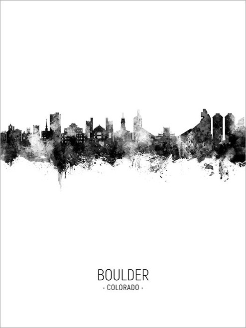 Boulder Colorado Skyline Cityscape Poster Art Print