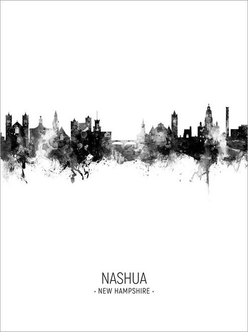 Nashua New Hampshire Skyline Cityscape Poster Art Print