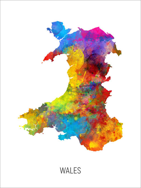Wales Map Poster Art Print