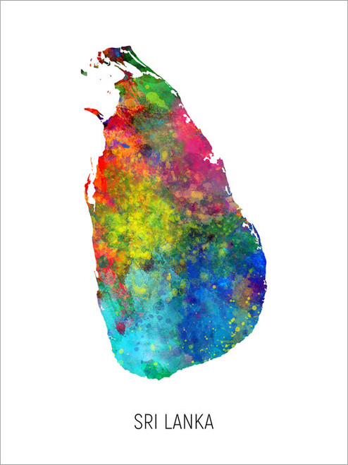 Sri Lanka Map Poster Art Print