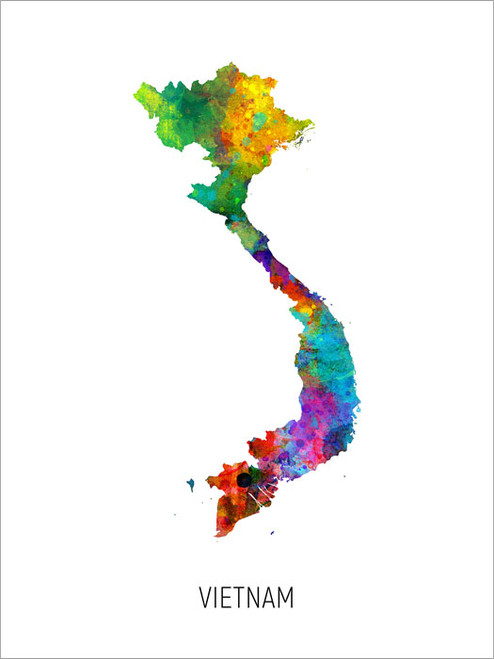 Vietnam Map Poster Art Print