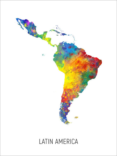 Latin America Map Poster Art Print