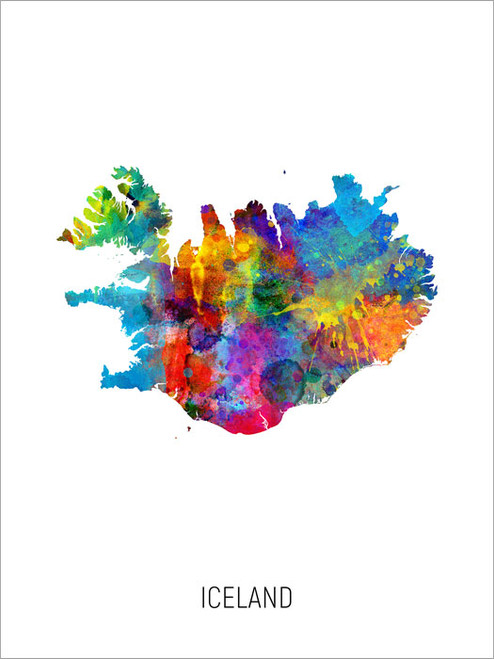 Iceland Map Poster Art Print