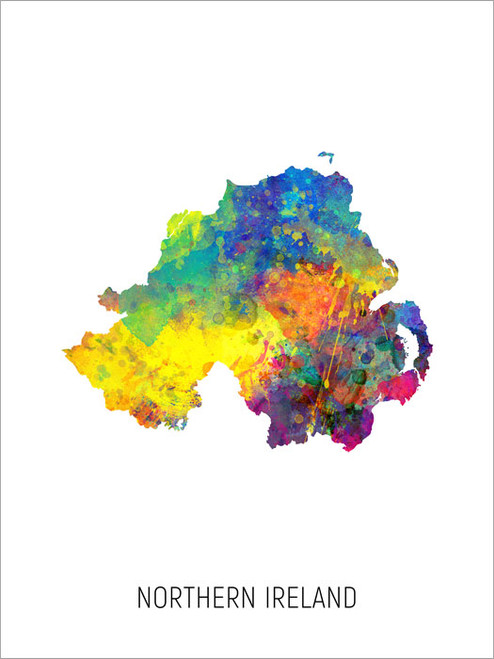 Northern Ireland Map Poster Art Print