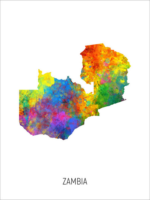 Zambia Map Poster Art Print
