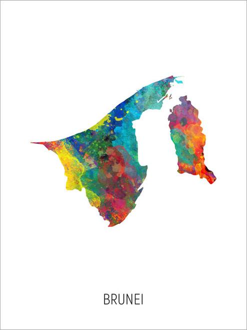 Brunei Map Poster Art Print