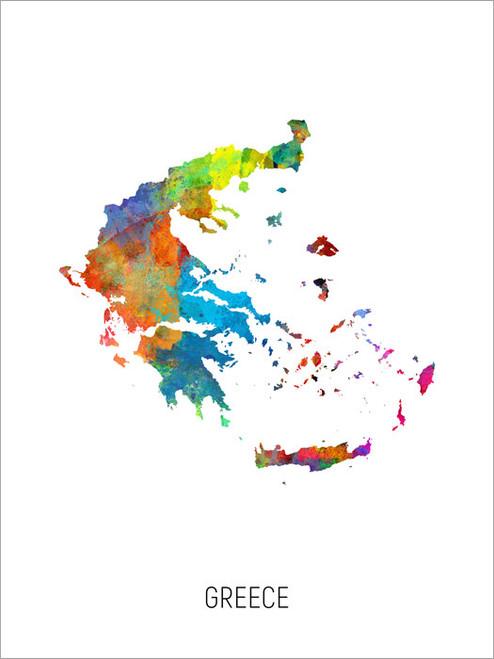 Greece Map Poster Art Print