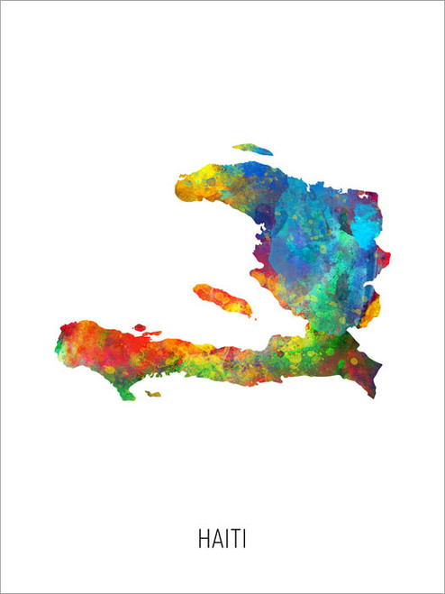 Haiti Map Poster Art Print