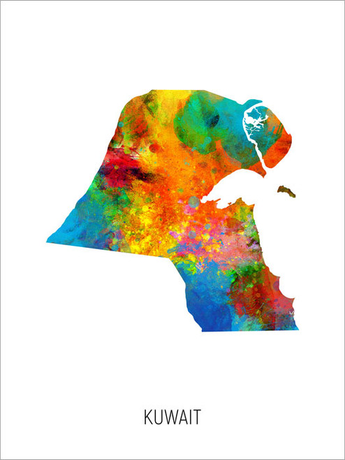 Kuwait Map Poster Art Print