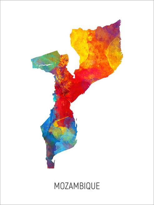 Mozambique Map Poster Art Print