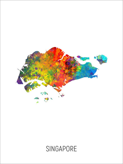 Singapore Map Poster Art Print
