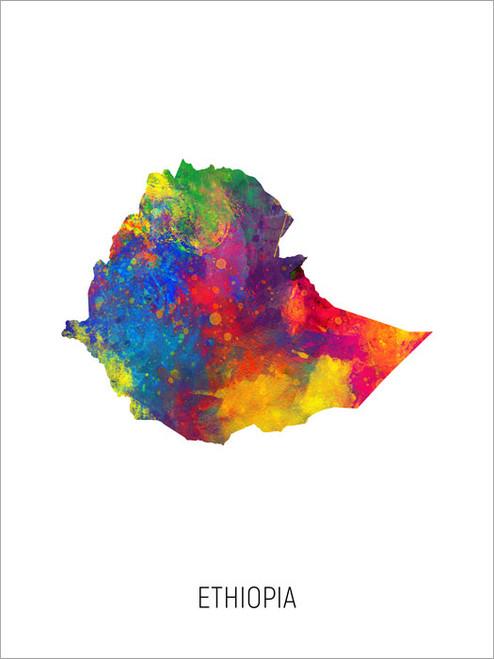 Ethiopia Map Poster Art Print