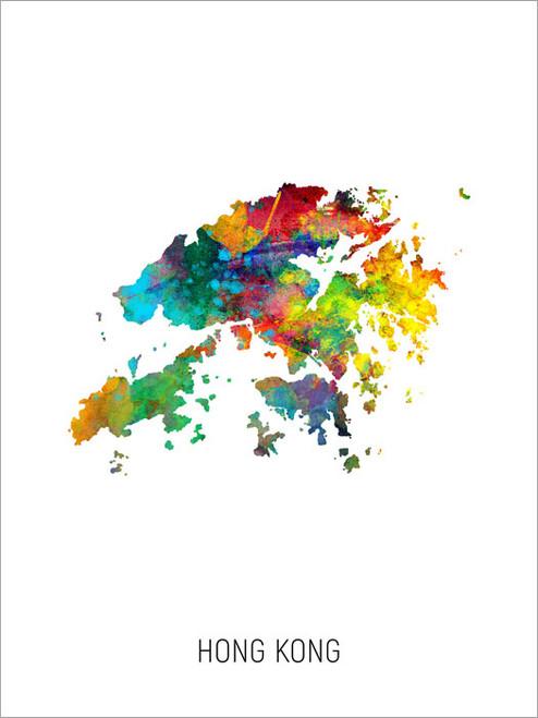 Hong Kong Map Poster Art Print
