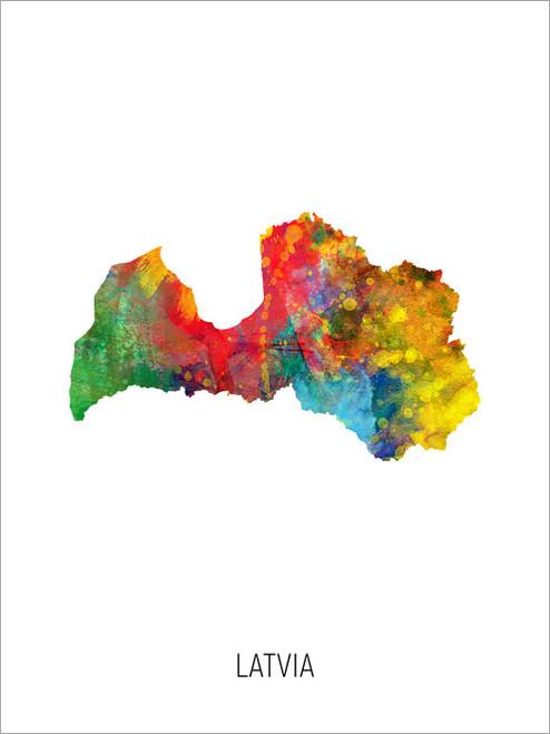 Latvia Map Poster Art Print