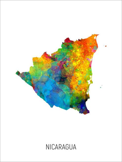 Nicaragua Map Poster Art Print
