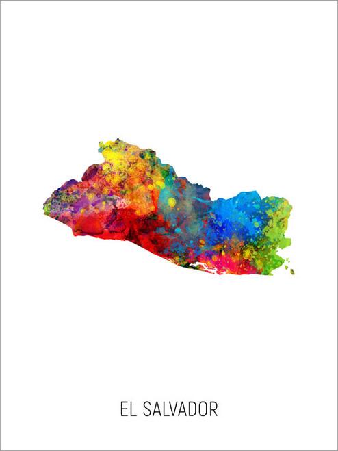 El Salvador Map Poster Art Print
