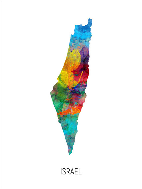 Israel Map Poster Art Print