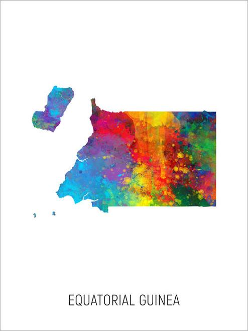 Equatorial Guinea Map Poster Art Print