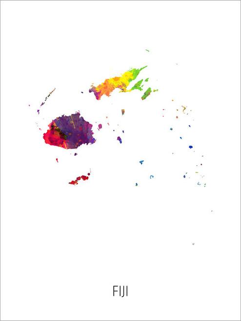 Fiji Map Poster Art Print