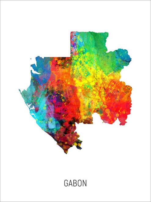 Gabon Map Poster Art Print
