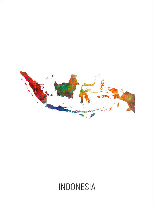 Indonesia Map Poster Art Print