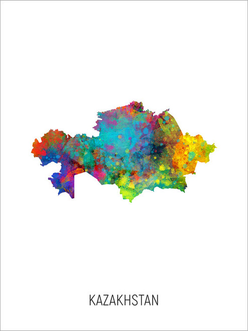 Kazakhstan Map Poster Art Print