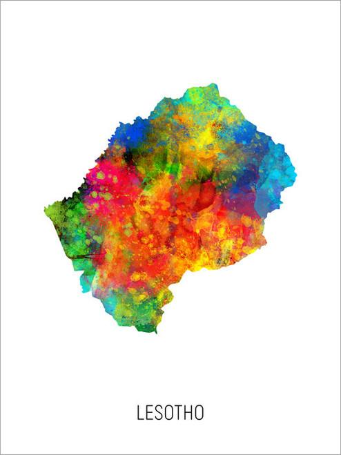 Lesotho Map Poster Art Print