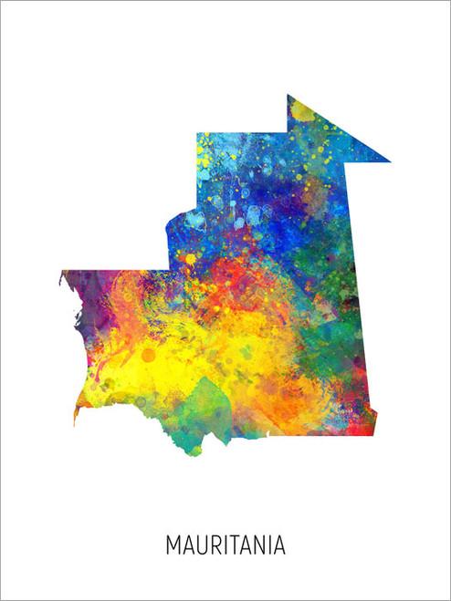 Mauritania Map Poster Art Print