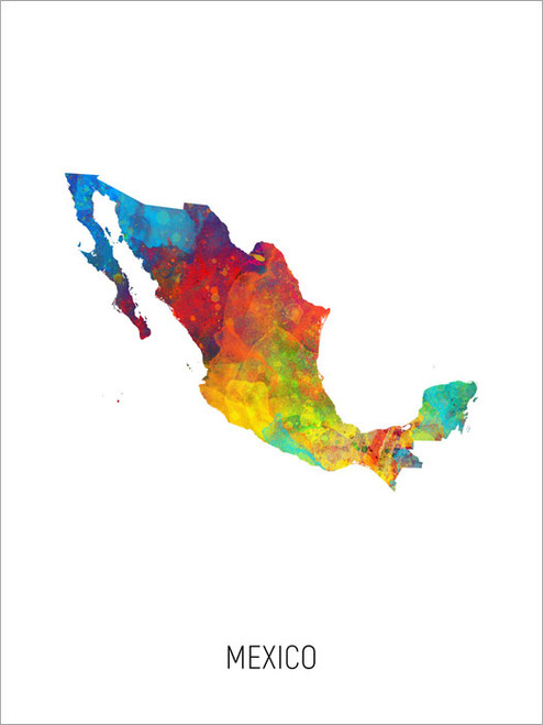 Mexico Map Poster Art Print