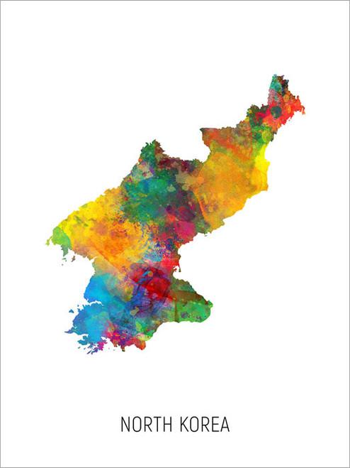 North Korea Map Poster Art Print