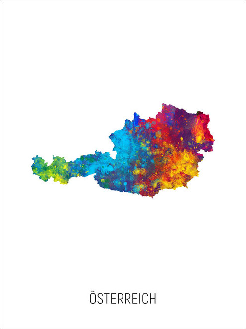 Österreich Map Poster Art Print