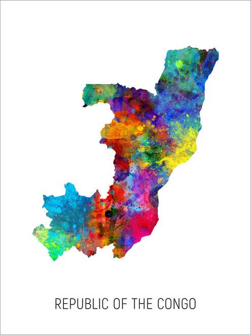 Republic of the Congo Map Poster Art Print