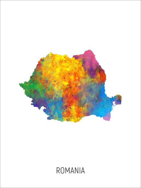 Romania Map Poster Art Print