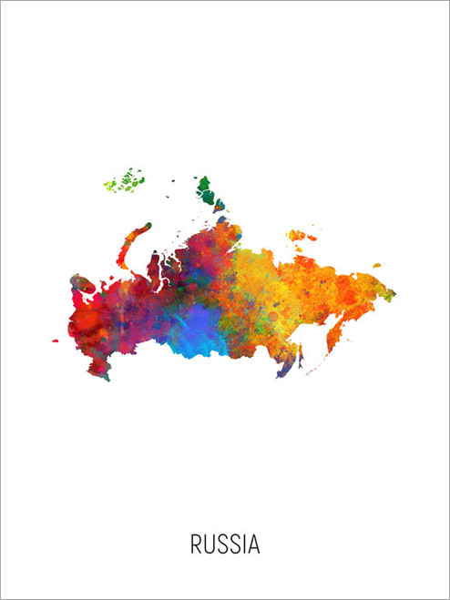 Russia Map Poster Art Print