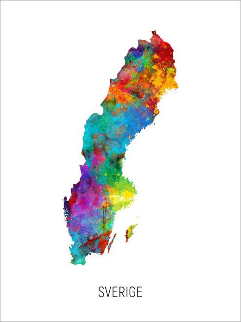 Sverige Map Poster Art Print