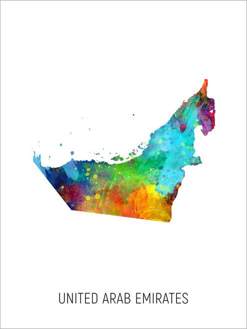 United Arab Emirates Map Poster Art Print