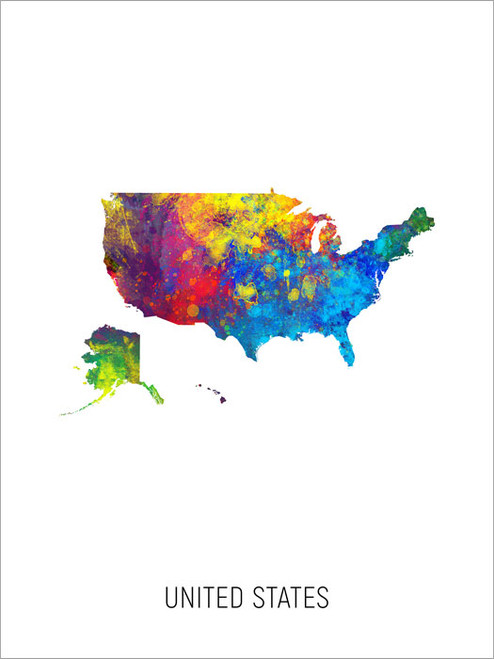 United States Map Poster Art Print