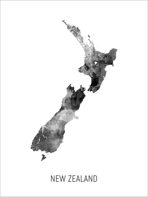 New Zealand Map Poster Art Print