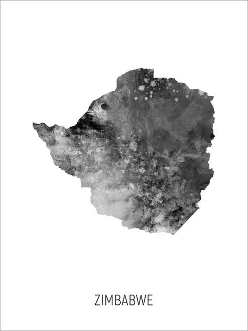 Zimbabwe Map Poster Art Print